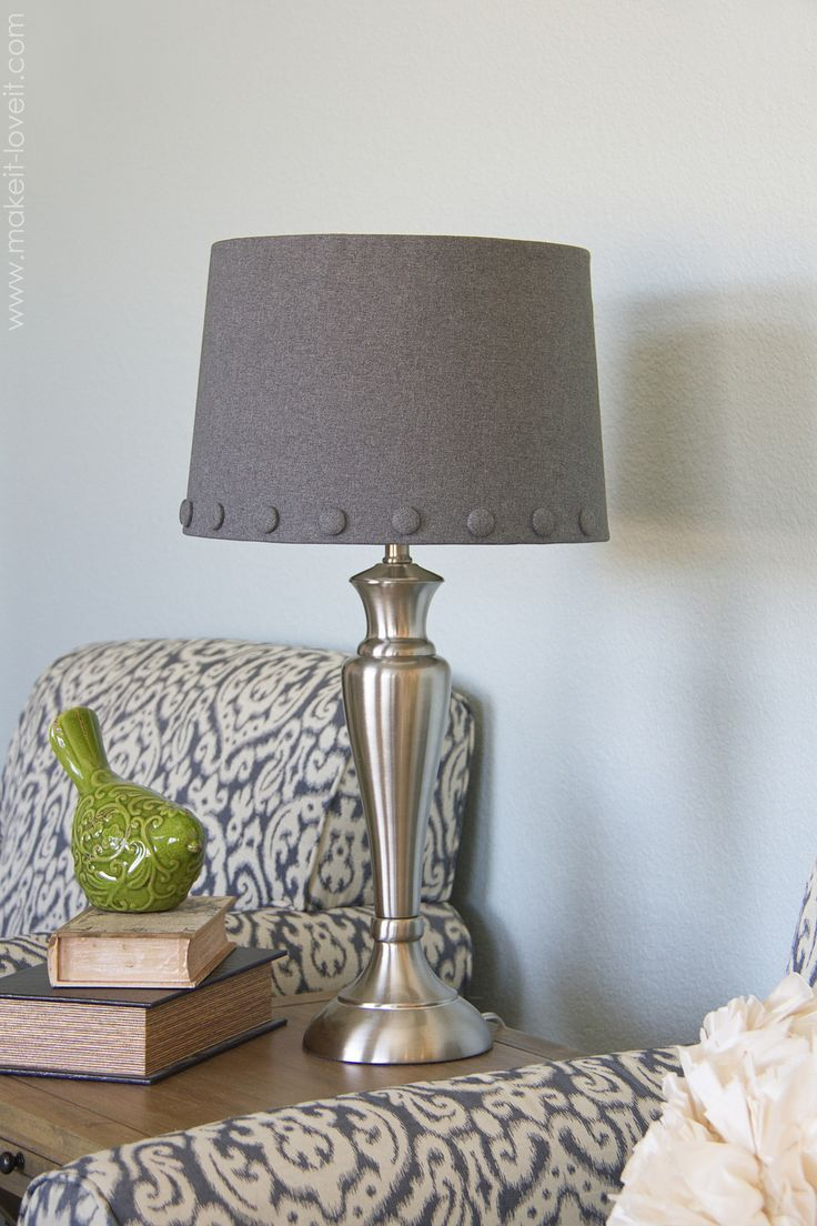 No Sew Lamp Shade With Cover Buttons Diy Lamp Makeover Lampshade Makeover Lamp Shade