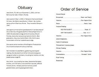 The Funeral Memorial Program Blog: How To Write A Funeral Program Obituary    Template  Free Printable Memorial Service Programs