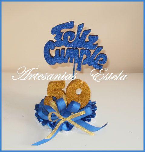 Adorno para tortas cumplea os 50 a os cosithas - Decoracion cumpleanos 50 anos ...