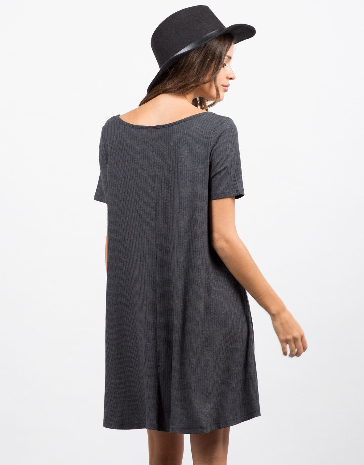 Back view of flare ribbed dress springsummer pinterest knee
