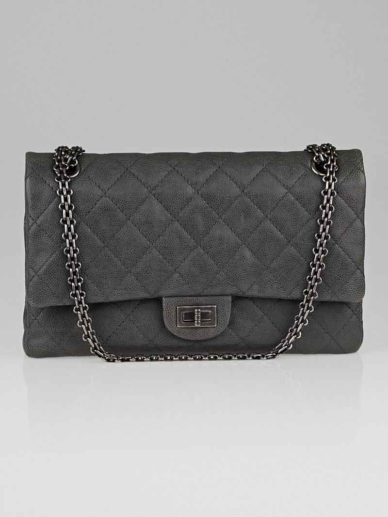 Chanel Grey 2.55 Reissue Quilted Grained Calfskin Leather Classic 226 Flap  Bag - Handbags - 10056129 sick bag!!! f492e998fc650