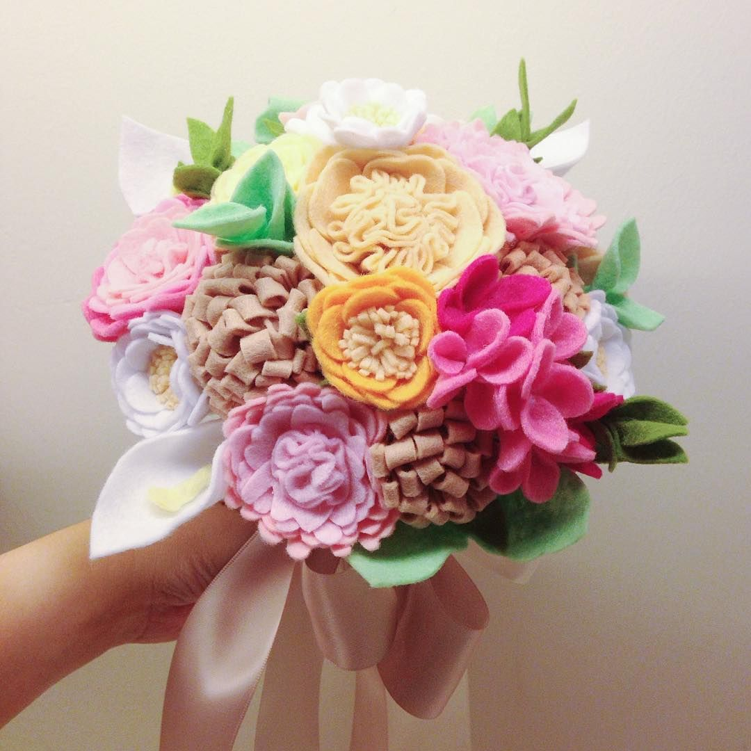 Pin by puppituna 18 on aneka flanel pinterest felt flowers felt flower bouquet felt flowers flower bouquets boquet felt projects felt crafts flower power embellishments brooches izmirmasajfo