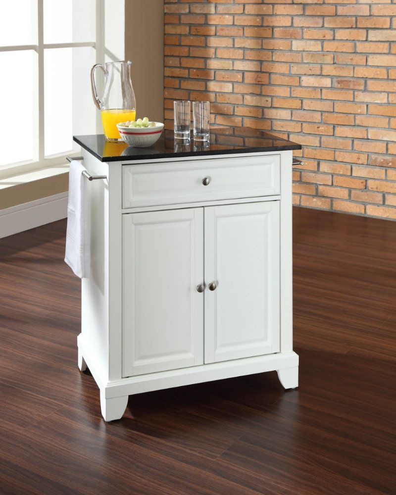 Newport solid black granite top portable kitchen island white with