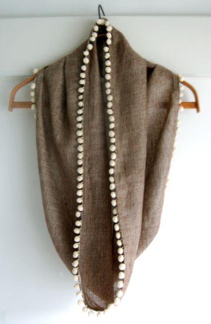 Pom-Pom fabric infinity scarf