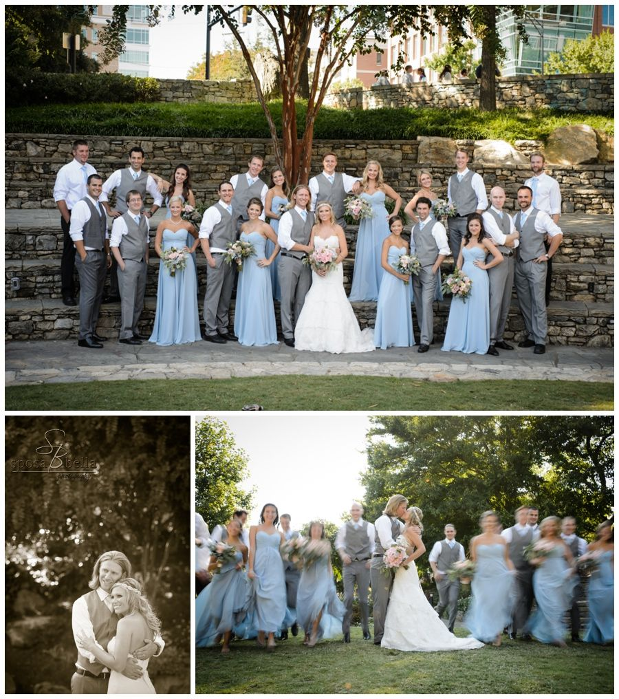 Pink Wedding Bouquet Light Blue Bridesmaids Dresses Gray Groomsmen Suits With Tie