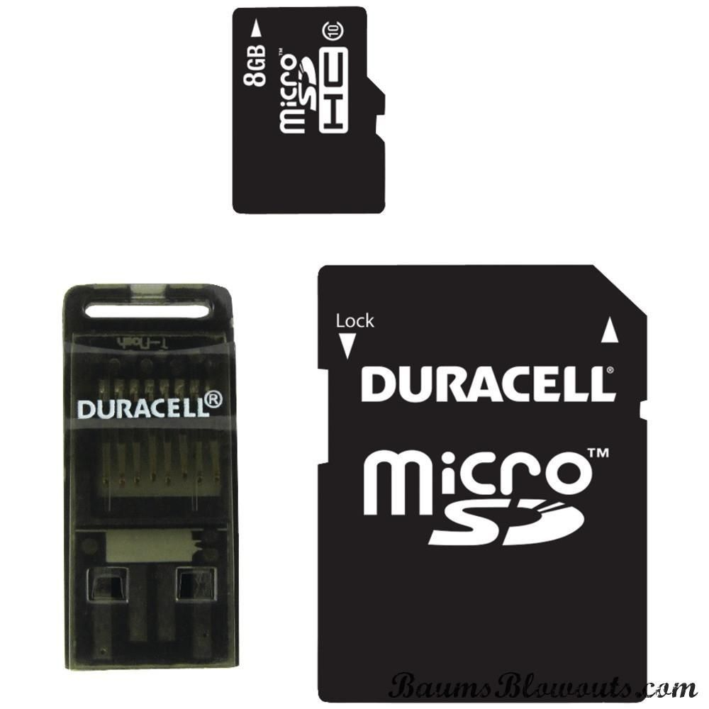 Duracell Class 10 Microsd Card With Sd Usb Adapters 8gb Adaptor Memory Adapter Micro
