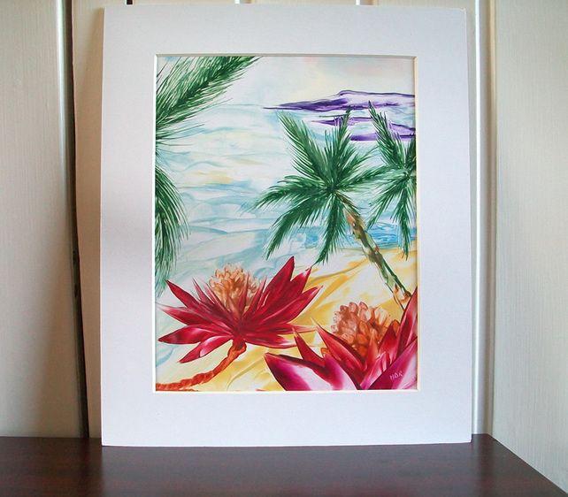 Palm Beach : Original Encaustic Art Painting mounted 10 x 12 £15.00
