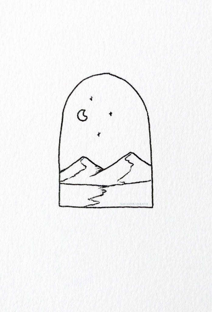 15 schöne einfache Zeichenideen: Berg zeichnen, Natur zeichnen, Nachthimmel zeichnen …
