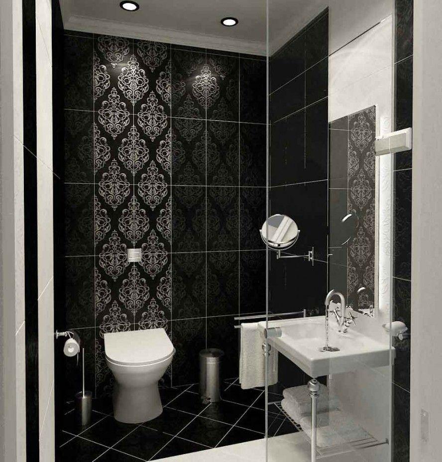 Stunning Tile Designs for Bathroom of Antique Look: Black Modern ...