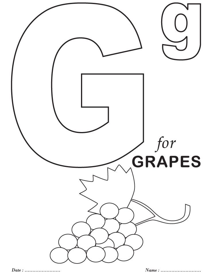 Grapes Fruit Coloring Pages Alphabet