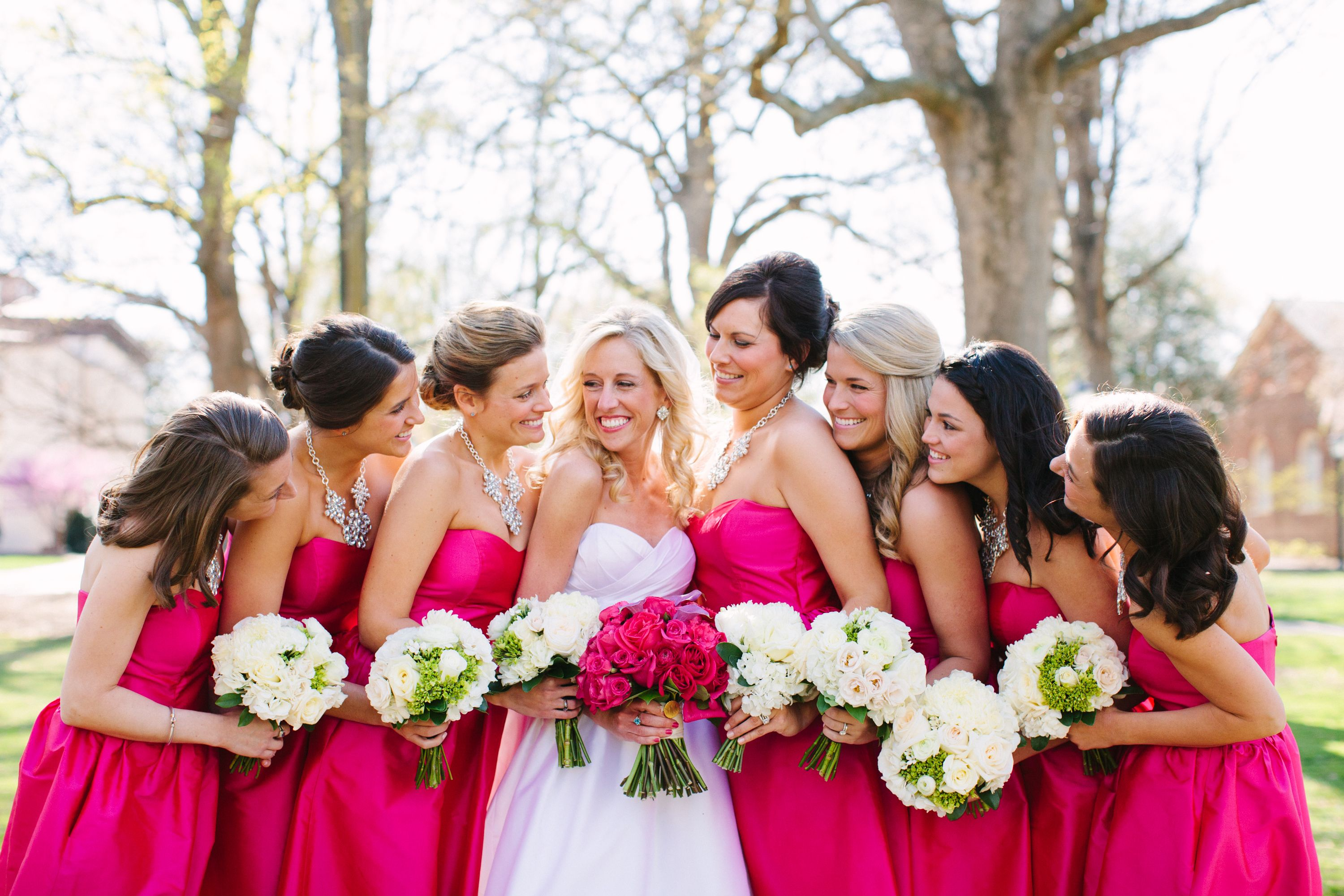 Hot pink bridesmaid dresses and groomsmens ties multi bright hot pink bridesmaid dresses and groomsmens ties multi bright flowers wedding pinterest hot pink bridesmaids bright flowers and hot pink ombrellifo Gallery