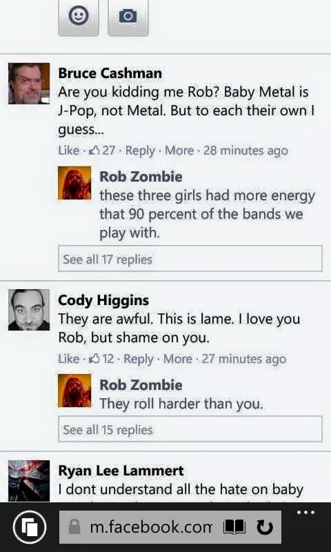 I don't even like Baby Metal, but I respect the fuck out of what they do. Props to Rob Zombie for putting these dickbags in line! ❤️
