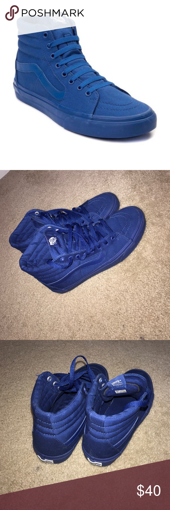 5f9eccafe6 All blue high top vans 9.5 10 condition