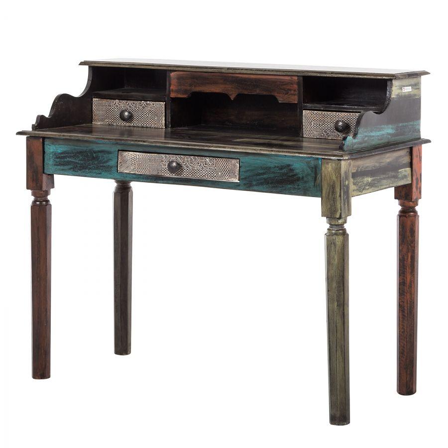 Schreibtisch Goa I - Akazie / Mango teilmassiv - Mehrfarbig