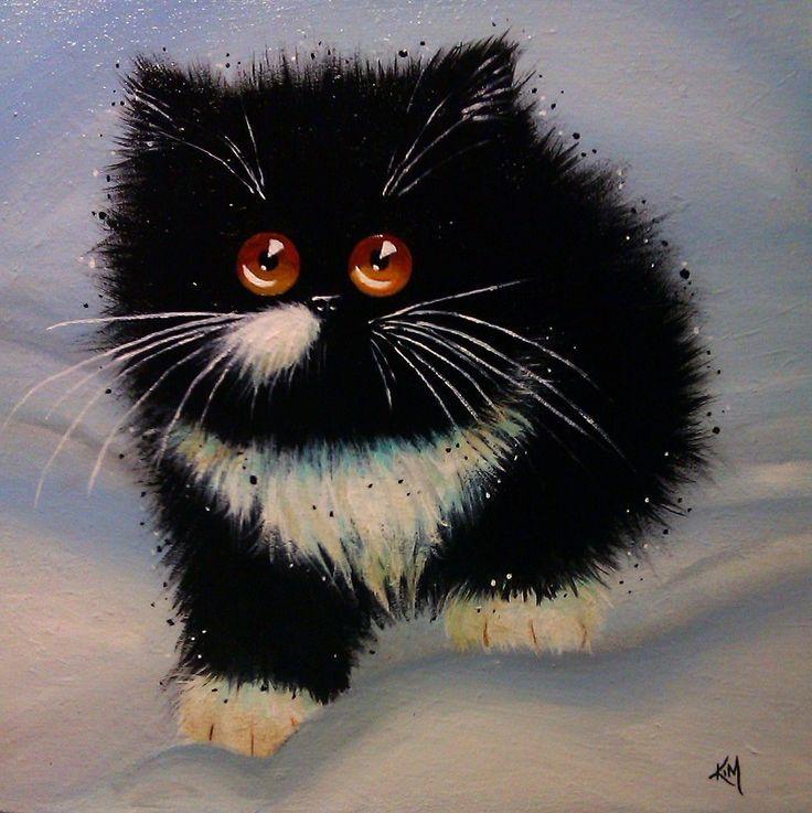 Смешной кот рисунок красками, месяцами открытки