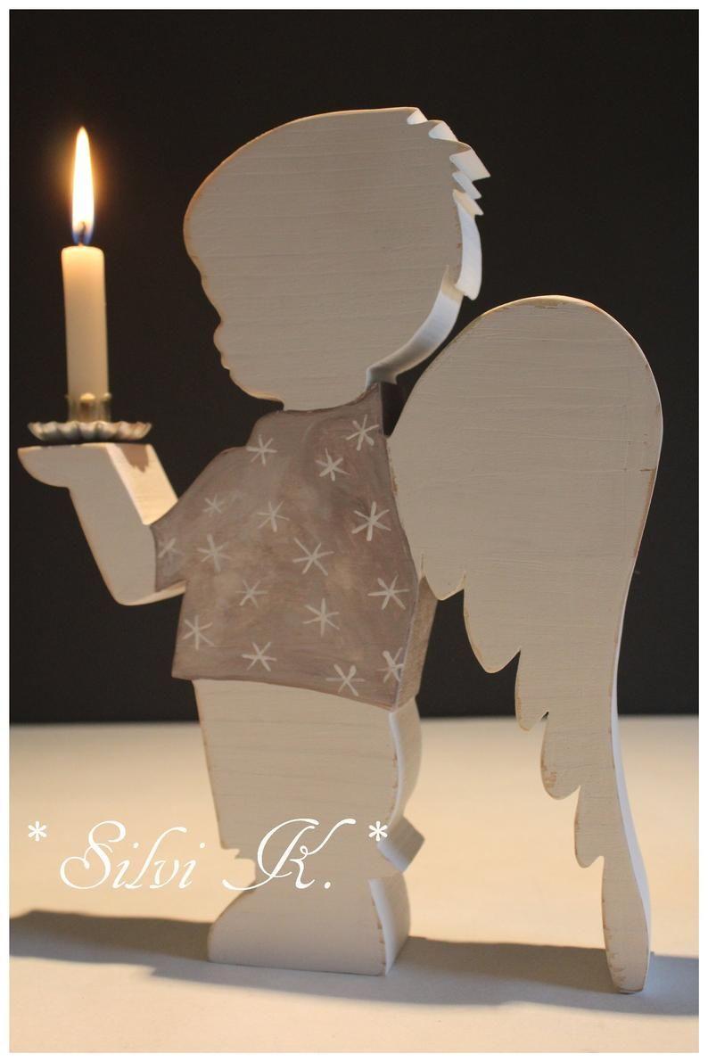 Angel chandelier Bub H: 26.5 cm made of spruce woo