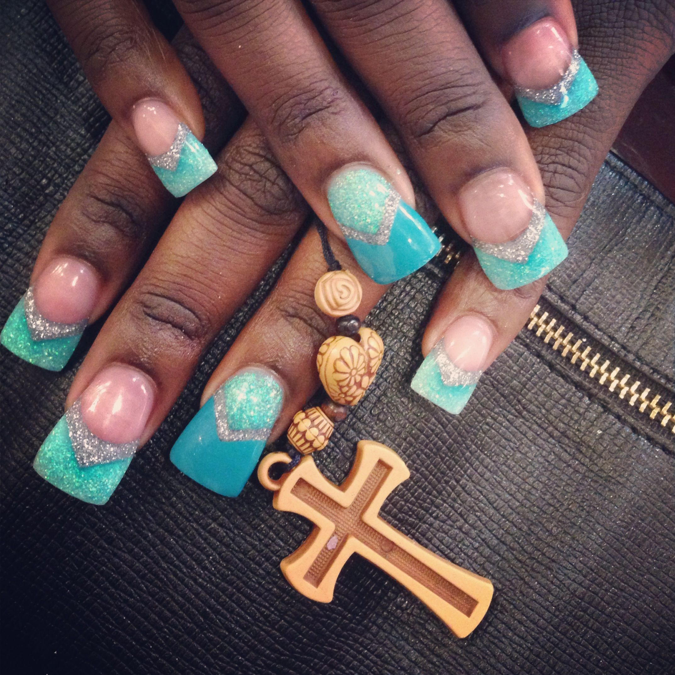 Turquoise fan nails done in colored acrylic | Nails by The Haute ...