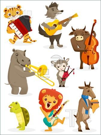 Illustration Of Animals Playing Instruments Vector Illustration Childrens Books Illustrations Animal Doodles Music Illustration