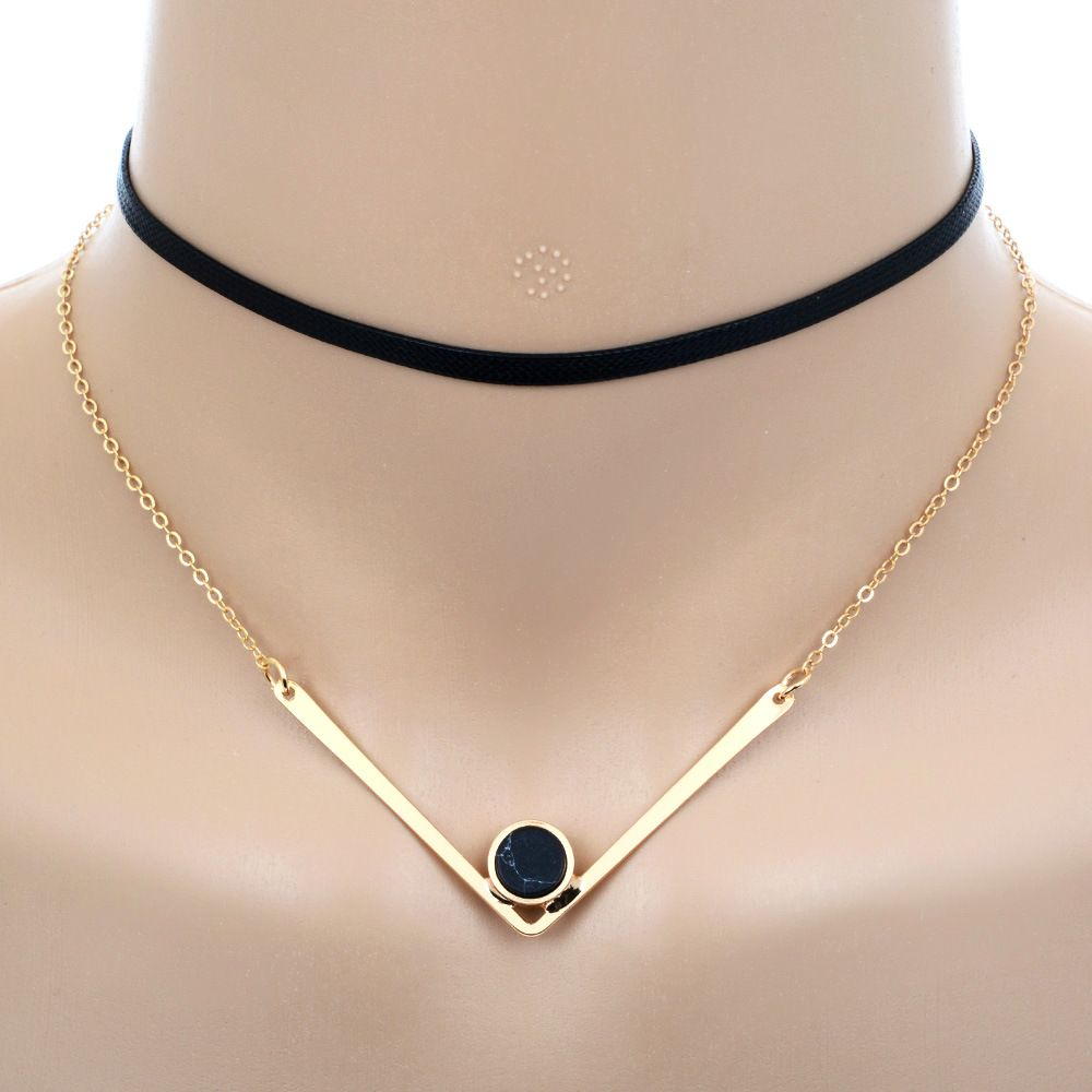 Fashion Women Faux Leather Chokers Chain Heart Necklace Vintage Jewelry new.