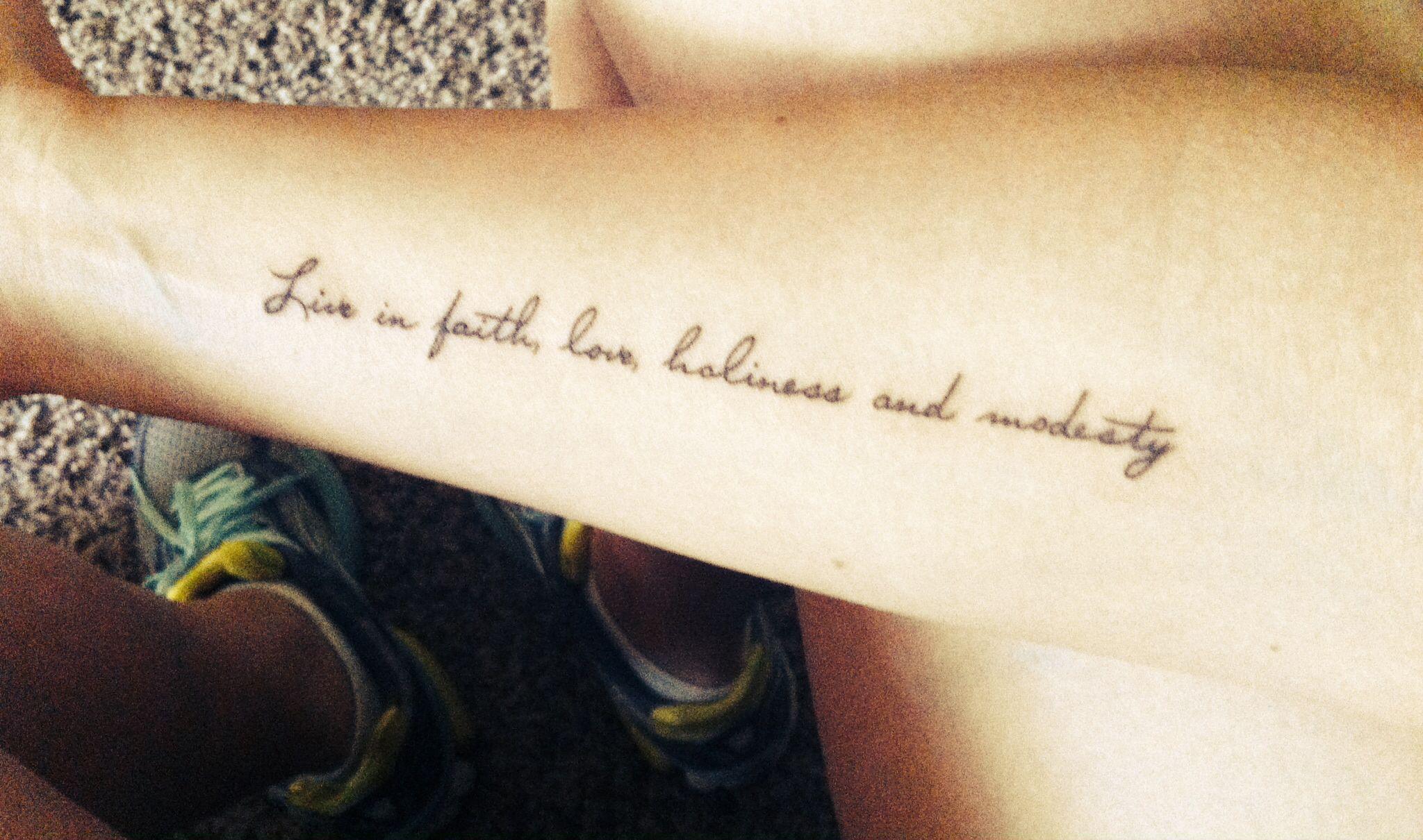 Small Religious Tattoo: Small Feminine Christian Tattoo Live In Faith, Love