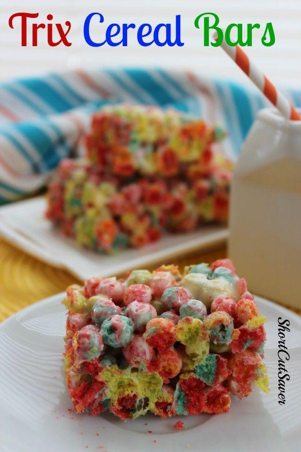 Trix Cereal Bars Everyday Shortcuts Recipe Homemade Cereal Cereal Recipes Cereal Bars