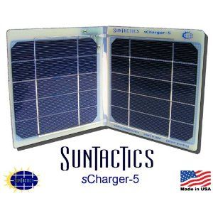 The sCharger-5 is a Powerful Compact Solar Charger that can Both Charge and Actually Run At The Same Time iPod, iPhone(3, 4, & 4S), Droids, HTCs, Samsung, eReaders, and Many Other Portable Devices Directly from the Sun