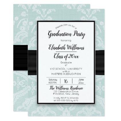 Elegant white lace turquoise graduation party card graduation elegant white lace turquoise graduation party card graduation party invitations card cards cyo grad stopboris Choice Image