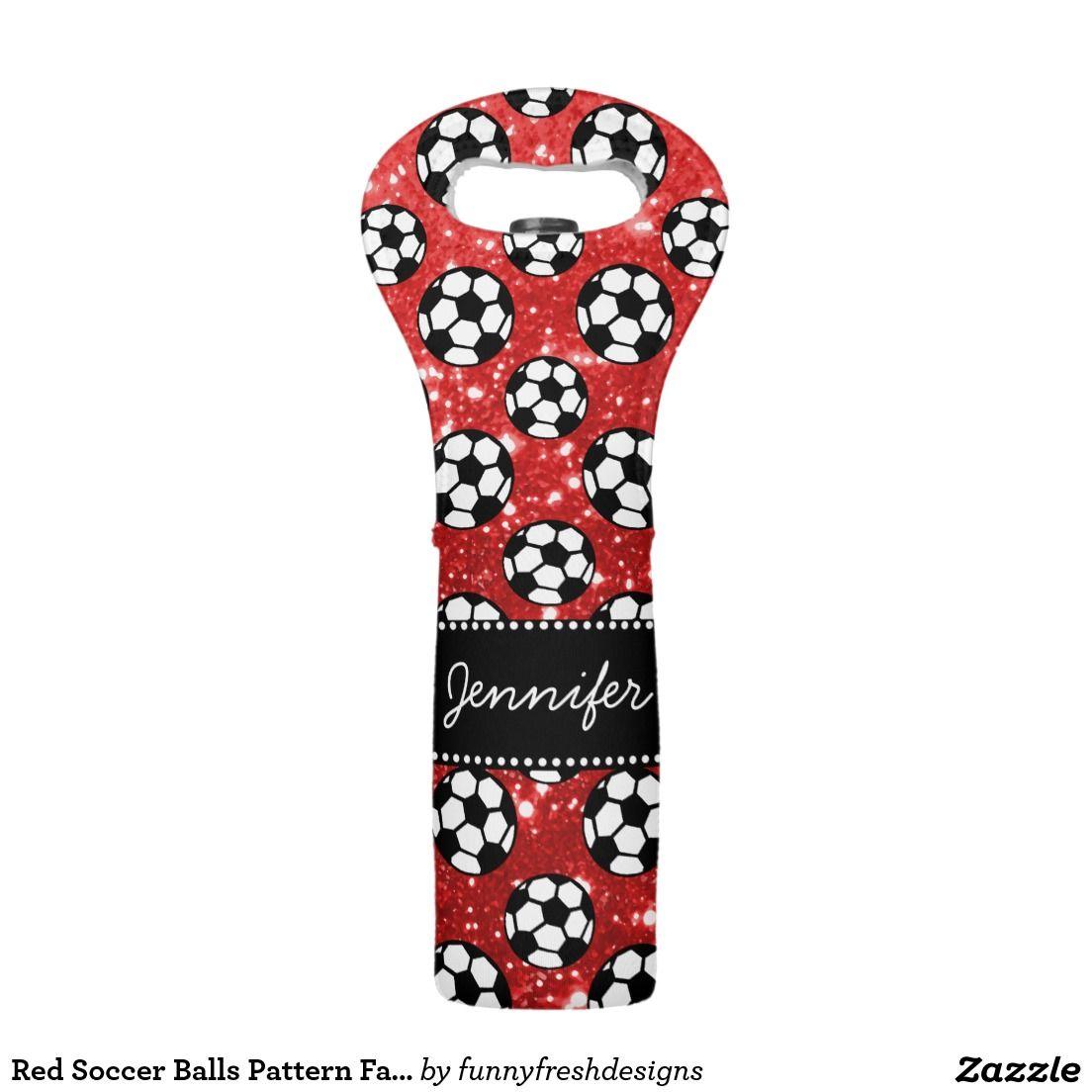 Red Soccer Balls Pattern Fake Glitter Name Wine Bag