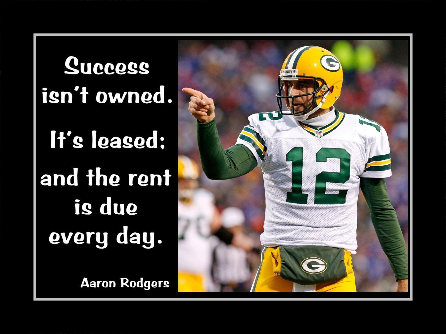 Football Motivation Poster Aaron Rodgers Green Bay Packers Photo Quote Wall Art Print 20 X30 Success I In 2020 Football Motivation Green Bay Packers Rodgers Green Bay