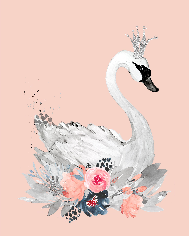 Girls Princess Swan Print Modern Grey Baby Nursery Wall Art Picture Flower Crown