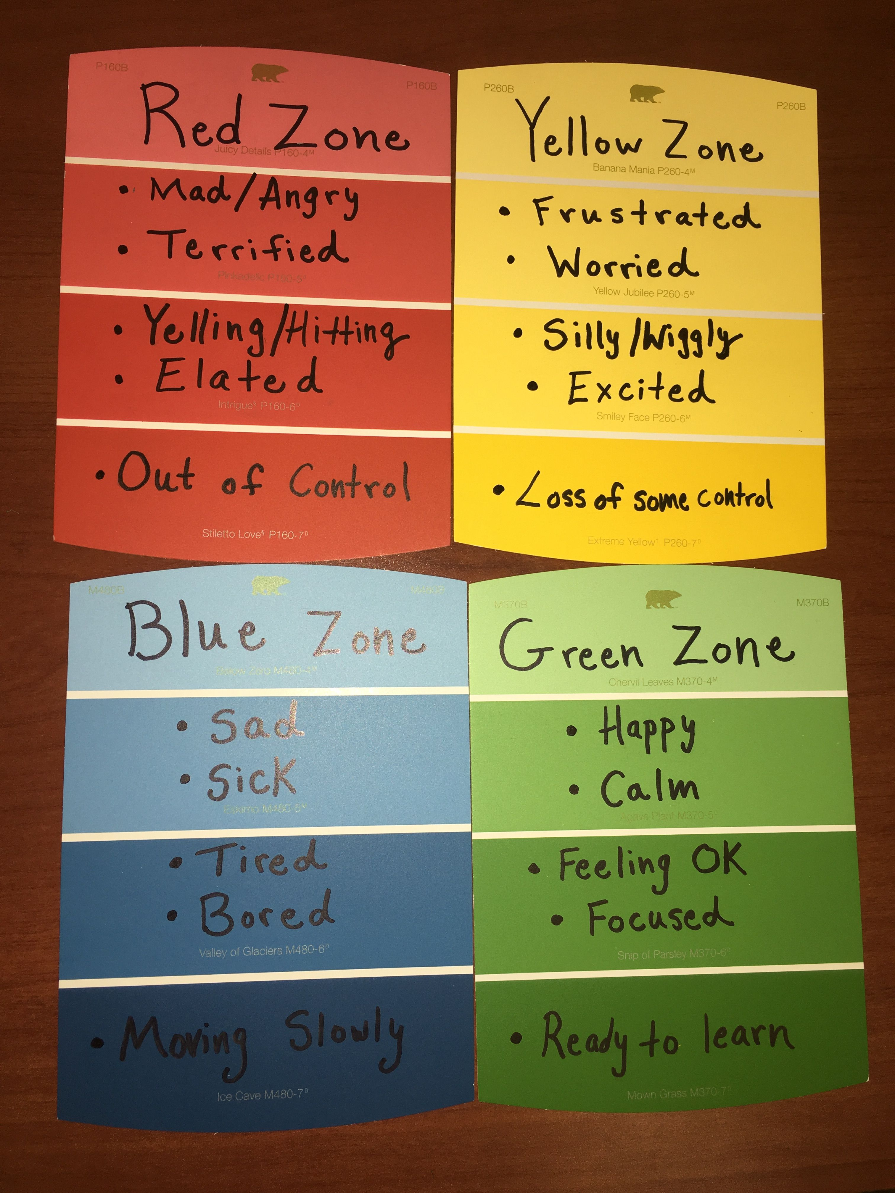 The Zones Of Regulation On Paint Chips These Were Fun To