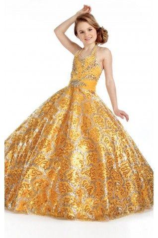 858a65a11f7 Gorgeous Halter Floor-length Princess Sequined Sleeveless Flower Girl  Dresses