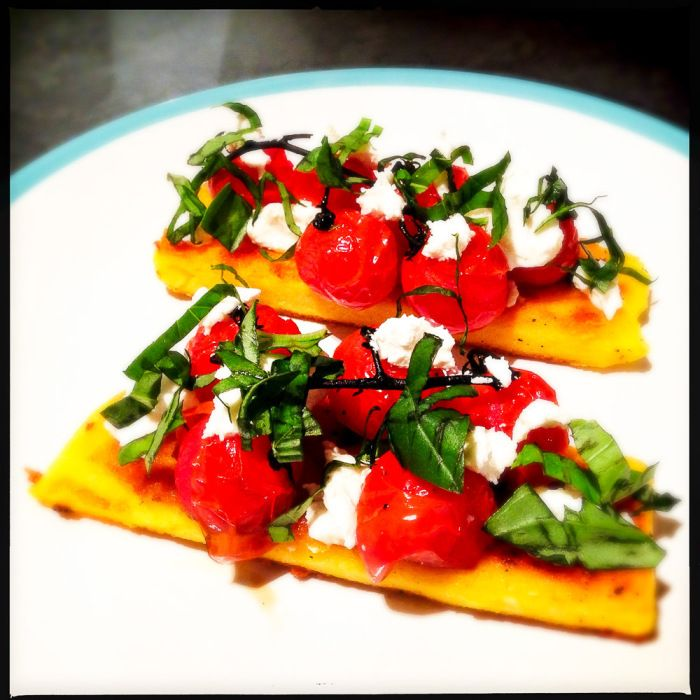 Brunch Recipes Gordon Ramsay: Grilled Polenta With Roasted Vine Tomato And Goat's Curd