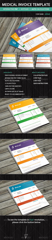 Medical Laboratory Invoice Template  Dona Graphicriver Invoice