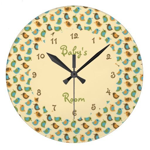 Neutral Baby Birds Personalized Round Wall Clocks