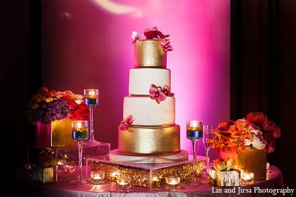 Indian Wedding Reception Cake Gold Pink Http Maharaniweddings Gallery