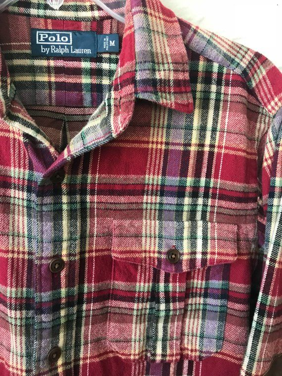 160bff0a Vintage ralph lauren polo red plaid button up flannel shirt ...