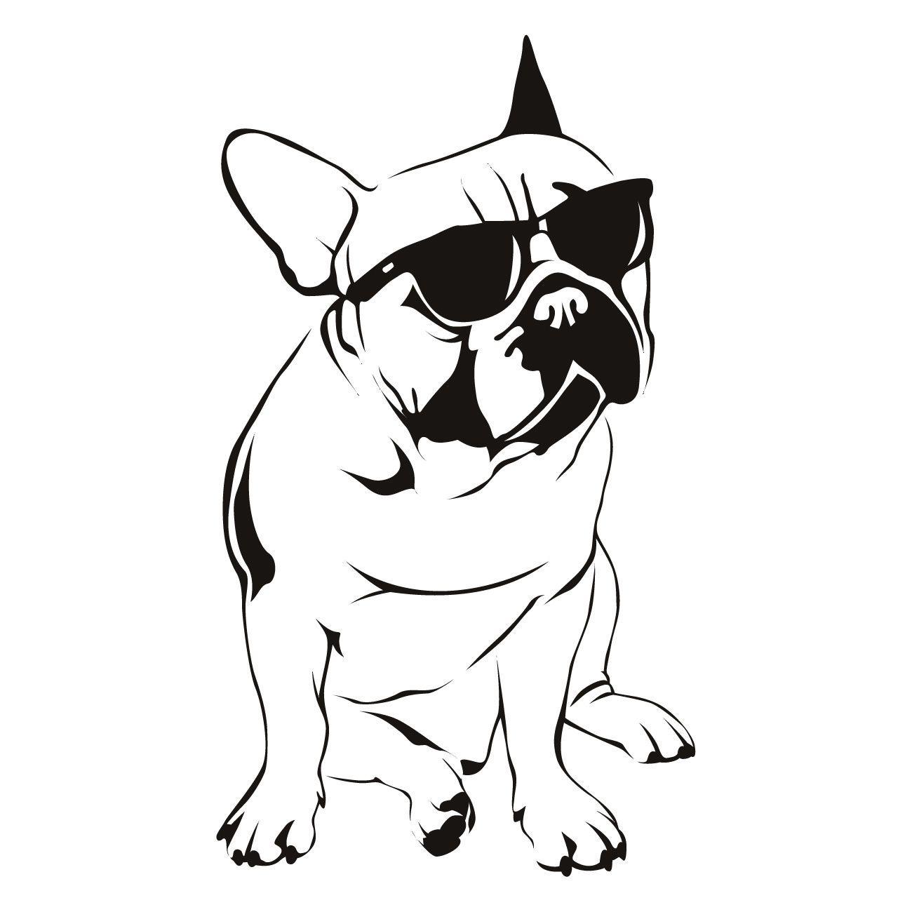 French Bulldog Sunglasses Cute Dog Wall Art Sticker Vinyl