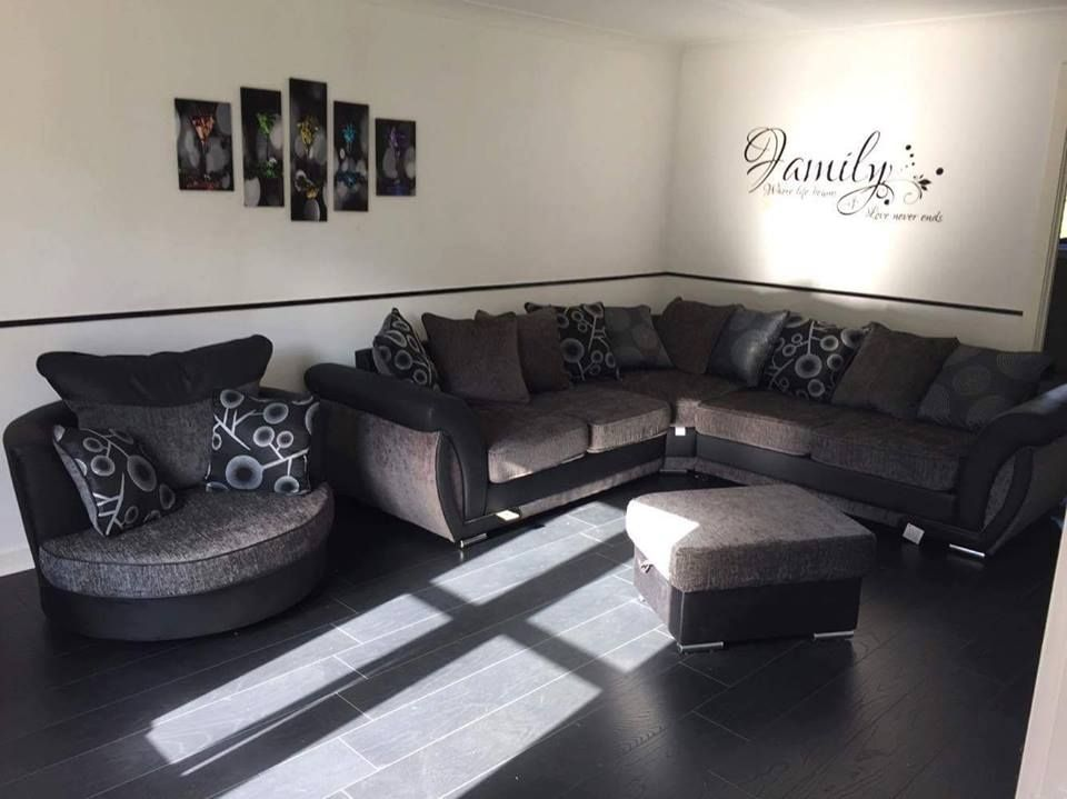 Joshy Grey Fabric Large Corner Sofa, Cuddle Chair