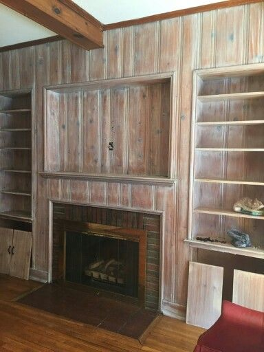 Whitewashed Knotty Pine Paneling