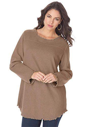 0f1be2393b2 Roamans Women s Plus Size Sherpa Tunic Brown Sugar