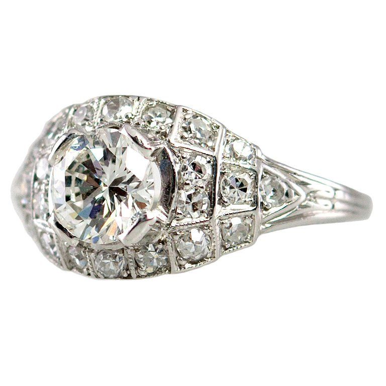 Art Deco 0.80ct. Diamond Ring   From a unique collection of vintage bridal rings at https://www.1stdibs.com/jewelry/rings/bridal-rings/