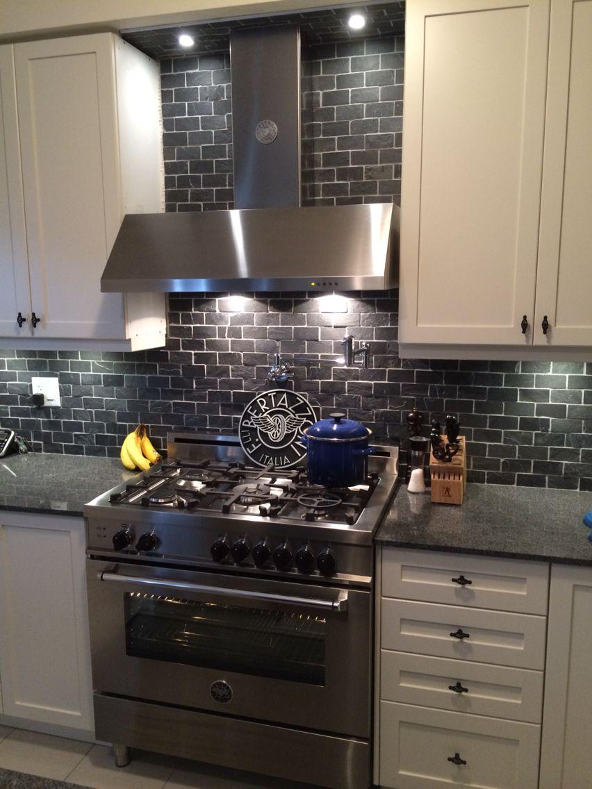 36 Bertazzoni oven and matching hood vent Black slate