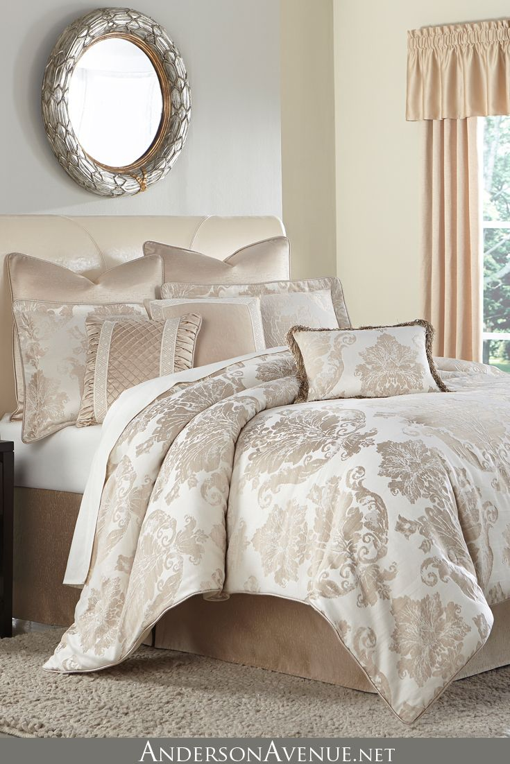 Michael Amini Marbella Bedding Features A Soft Sand And Cream Palette With Elegant Trim Deta Luxury Bedding Luxury Comforter Sets Luxury Bedding Master Bedroom
