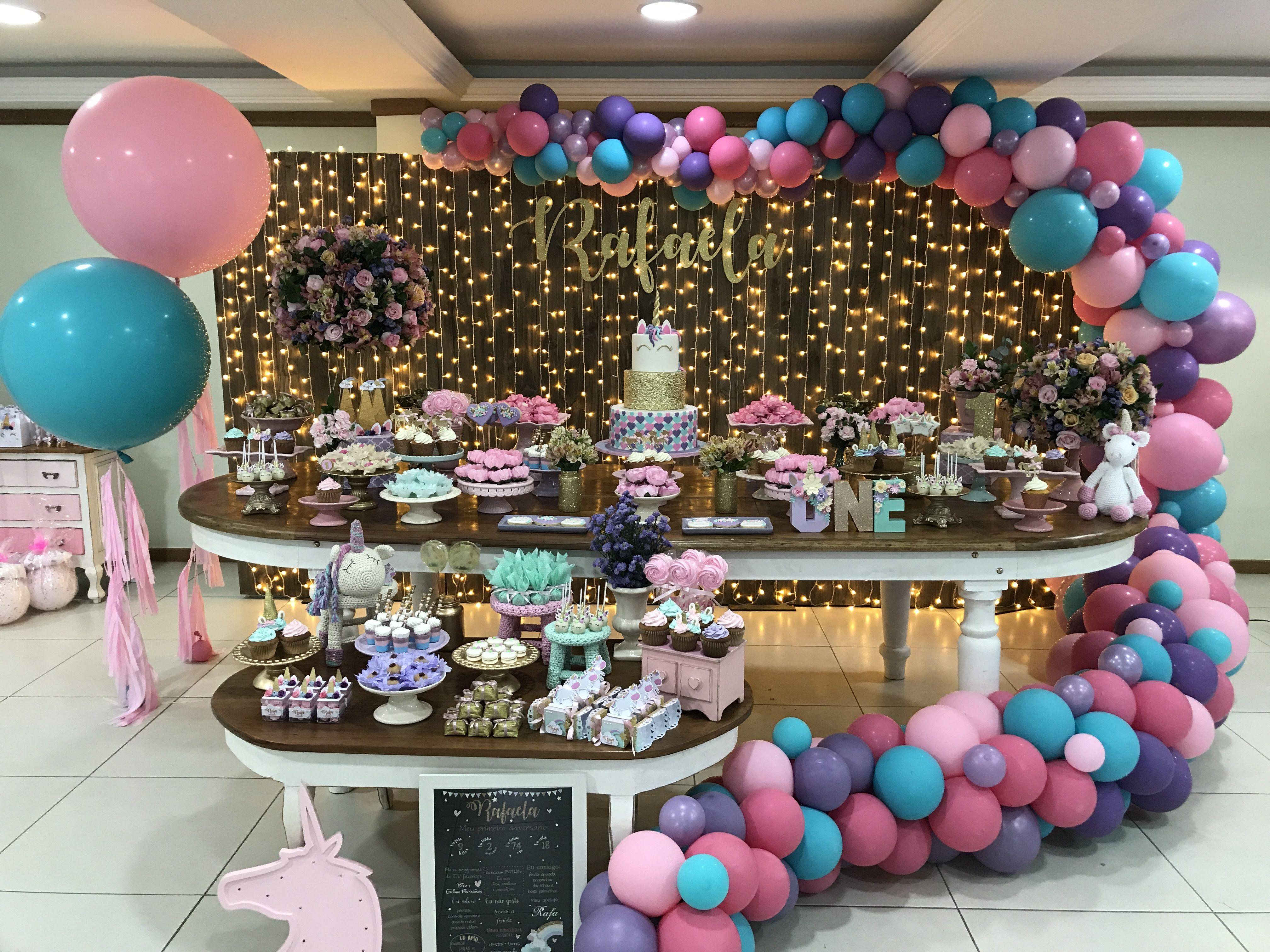 Festa Infantil De Menina Com O Tema Unicornio Com Imagens