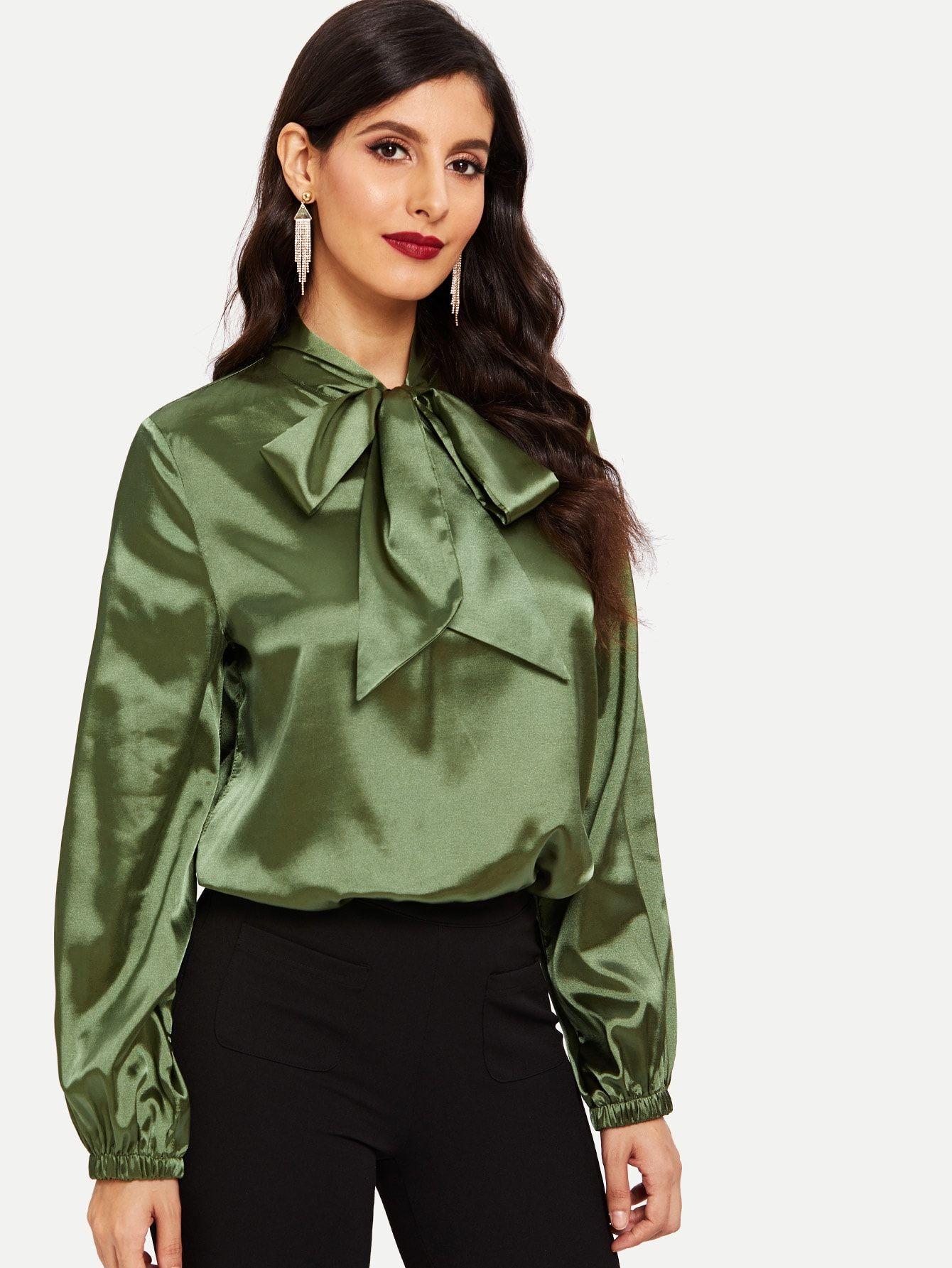 b0f1b89102078b Elegant Tie Neck Plain Top Regular Fit Stand Collar Long Sleeve Pullovers  Army Green Regular Length Tie Neck Solid Top