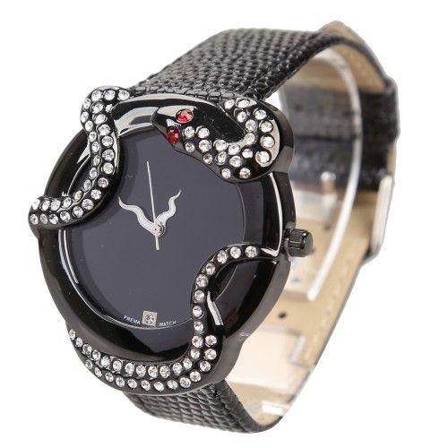 Girl #Wristwatch Quartz Movement Glittering Rhinestone Snake Delicate