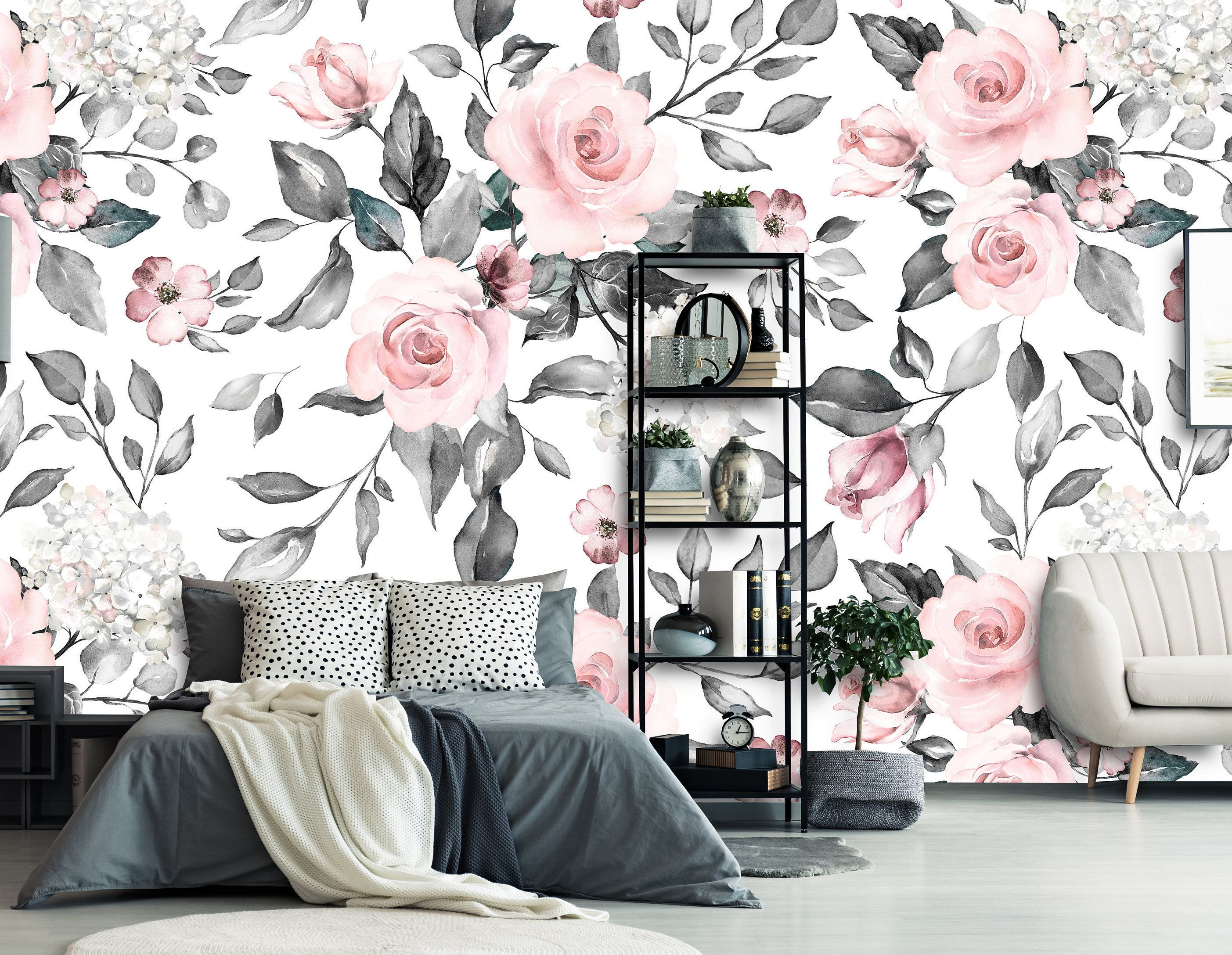 Removable Wallpaper Mural Peel Stick Watercolor Vintage Flowers