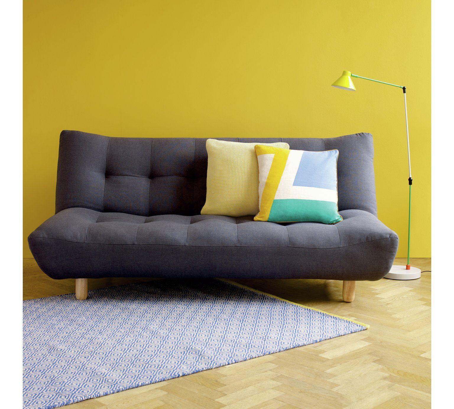 Habitat Kota 2 Seater Fabric Sofa Bed Charcoal At Argos Co Uk