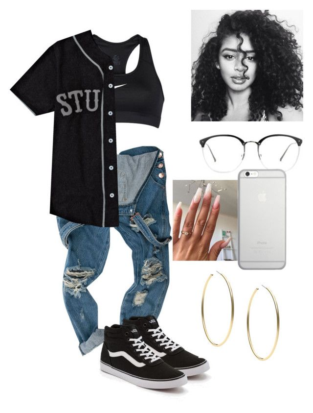 """""""😇😔"""" by baby-crooksanford ❤ liked on Polyvore featuring NIKE, Stussy, Vans, Linda Farrow, Native Union and Michael Kors"""